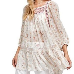 NWT Free People Chiffon Tunic w 2 ties on the back